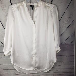 MNG | white pearl button down shirt size L